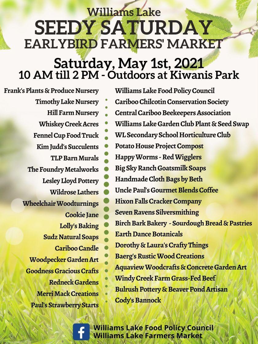 vendor list Williams Lake Seedy Saturday may 1 2021 v4